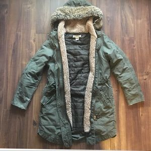 H&M 3 in 1 Distressed Parka w/ Faux Sherpa Lining